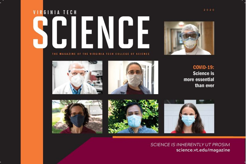 A preview of the 2020 Virginia Tech College of Science magazine cover. The image includes six photographs of Virginia faculty, all wearing masks, on a black background.